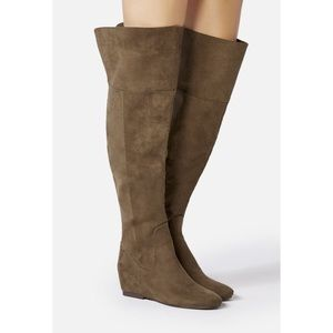 Justfab green suede over the knee boots